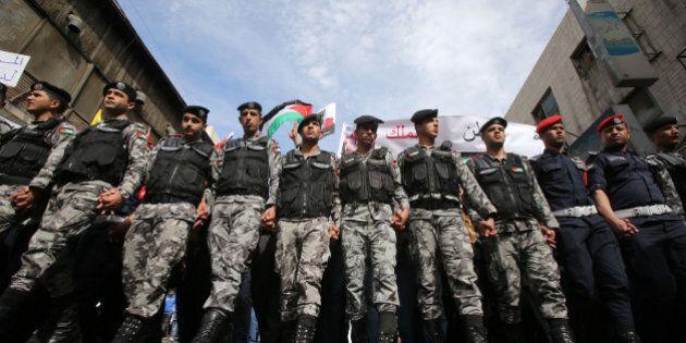 AMMAN, JORDAN- FEBRUARY 06: Thousands of Jordanians participate in a mass demonstration after Friday...