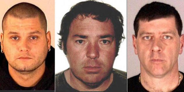 These images provided by Interpol show Yves Denis, 35, left, Serge Pomerleau, 49, center and  Denis Lefebvre, 53, in undated police handout photos. The three inmates, who escaped a jail near Quebec City by helicopter on June 7, were arrested Sunday June 22, 2014, at a home in Montreal, Quebec provincial police said. (AP Photo/Interpol)