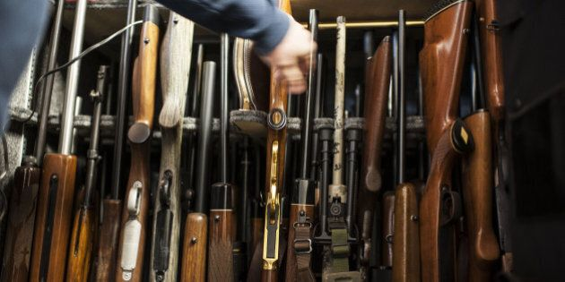 SCHALLER, IA - MARCH 19: Todd Bloyer points to his collection of guns within a inside a gun safe at his...
