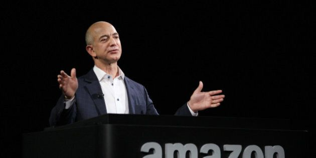 SANTA MONICA, CA - SEPTEMBER 6: Amazon CEO Jeff Bezos unveils new Kindle reading devices at a press conference...
