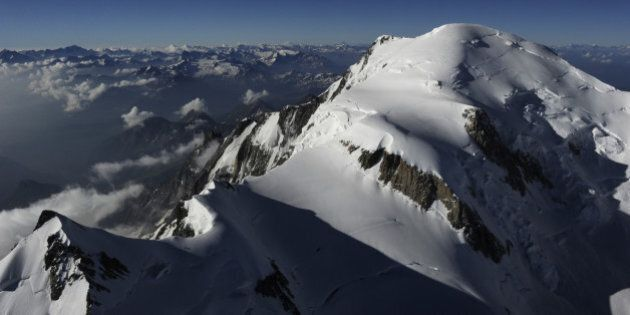 An aerial picture taken on July 16, 2010, shows the Mont-Blanc, in the French Alps. The new height of...