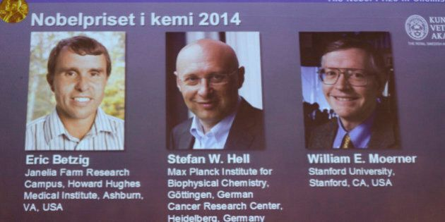 Images of the three winners of the 2014 Nobel Prize for Chemistry Americans Eric Betzig, left, and William...