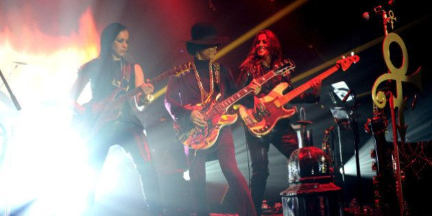 LOS ANGELES, CA - MARCH 08: Donna Grantis, Prince and Ida Nielsen of 3RDEYEGIRL perform onstage at The...