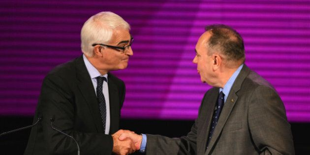 GLASGOW, SCOTLAND - AUGUST 25: Alex Salmond (R) First Minister of Scotland and Alistair Darling (L) chairman...