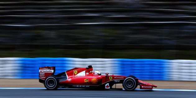 JEREZ DE LA FRONTERA, SPAIN - FEBRUARY 02: Sebastian Vettel of Germany and Ferrari drives during day...