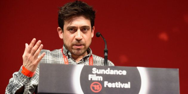 PARK CITY, UT - JANUARY 31: Director Alfonso Gomez-Rejon of 'Me and Earl and the Dying Girl' accepts...