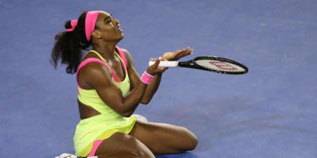 MELBOURNE, AUSTRALIA - JANUARY 31: Serena Williams of the United States reacts to a point in her women's...