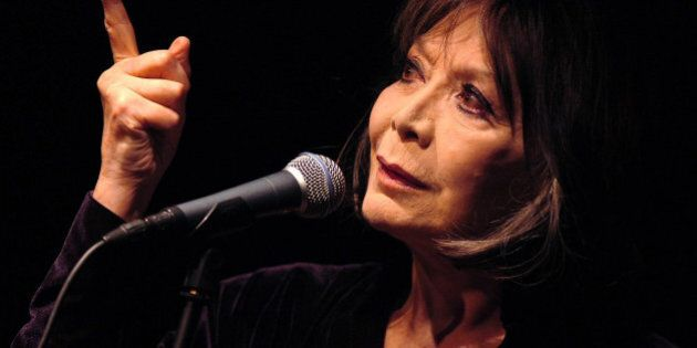 French actress and singer Juliette Greco performs on the Casino hall stage during the 39th Montreux Jazz...