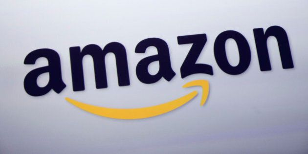The logo for Amazon.com is displayed at a news conference, Wednesday, Sept. 28, 2011 in New York. (AP...