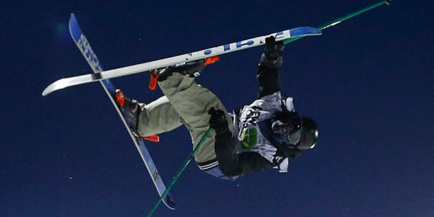 Canada's Simon d'Artois competes during the freestyle skiing superpipe final at the Dew Tour iON Mountain...