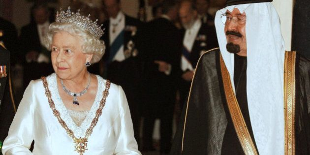 King Abdullah of Saudi Arabia, right, with Queen Elizabeth II, prior a state banquet at Buckingham Palace...