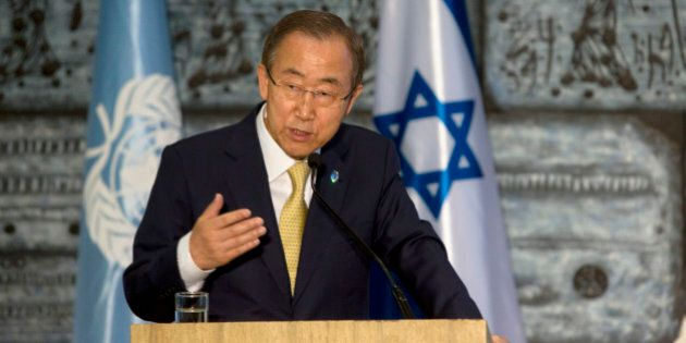 United Nations Secretary-General Ban Ki-moon, speaks during a statements with Israel's President Shimon...