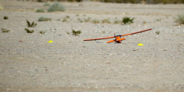 The Sensurion Aerospace Magpie commercial drone is seen on the ground after it crashed during launch...