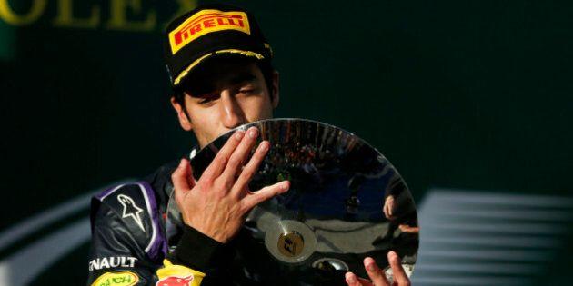 MELBOURNE, AUSTRALIA - MARCH 16: Daniel Ricciardo of Australia and Infiniti Red Bull Racing celebrates...