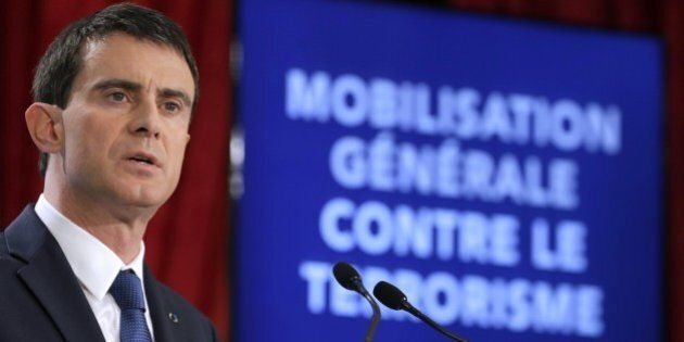 French Prime Minister Manuel Valls speaks during a press conference to unveil new security measures ahead...