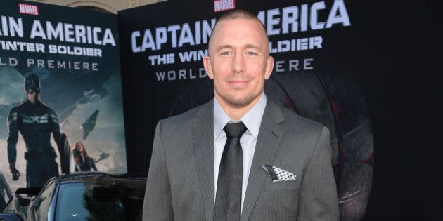 HOLLYWOOD, CA - MARCH 13: Martial artist Georges St-Pierre attends Marvel's 'Captain America: The Winter...
