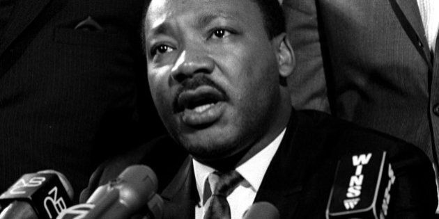 UNITED STATES - MARCH 27: Dr. Martin Luther King during press conference at Mount Calvary Missionary...