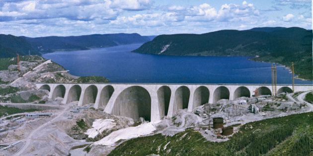 The construction of the Daniel-Johnson Dam on the Manicouagan River, Quebec, Canada, circa 1965. (Photo...