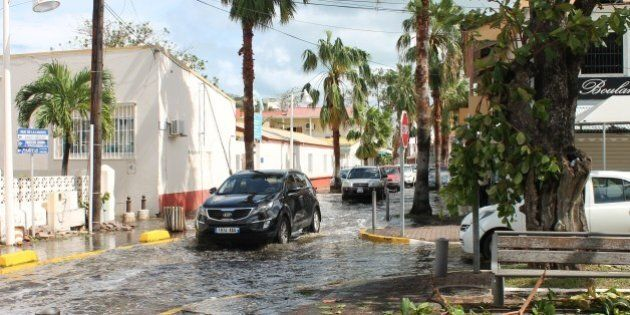 Streets are flooded following hurricane Gonzola in Marigot on the French Caribbean island of Saint Martin...