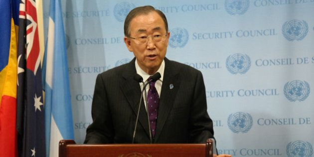 NEW YORK, NY - OCTOBER 16: United Nations Secretary-General Ban Ki-moon speaks during a press conference...