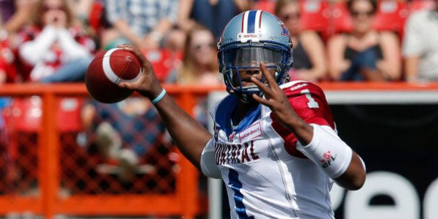 CALGARY, AB - JUNE 28: Quarterback Troy Smith #1 of the Montreal Alouettes throws a pass against the...