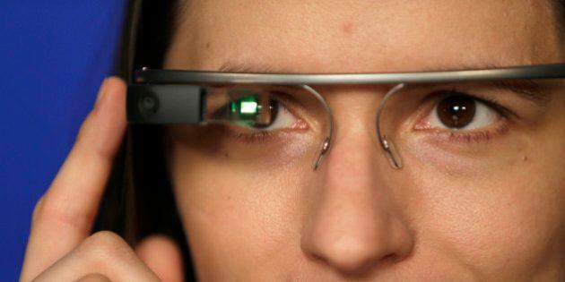 Associated Press Technology Writer Barbara Ortutay wears Google Glass in New York, Friday, Feb. 21, 2014....
