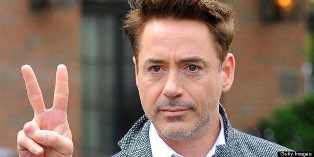 NEW YORK, NY - APRIL 30: Robert Downey Jr. leaves Gemma restaurant on April 30, 2013 in New York City....