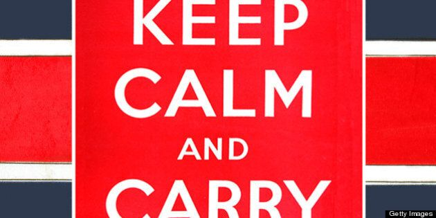 A poster produced by the British government in World War II, with the text 'Keep Calm And Carry On' on...