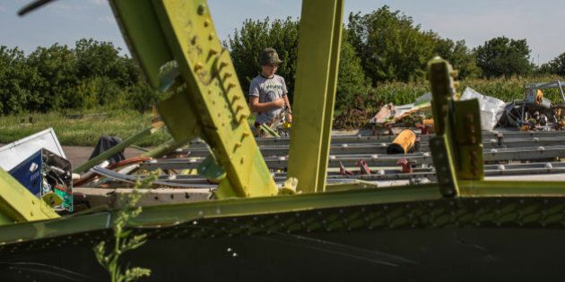 PETROPAVLIVKA, UKRAINE - JULY 24: Vlad, 10, looks at wreckage of the Malaysia Airlines flight MH17 that...