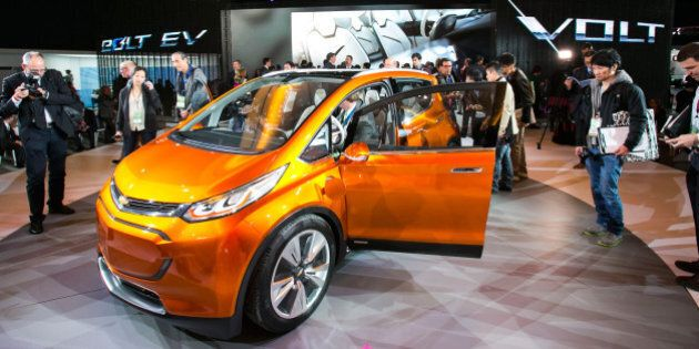 DETROIT, MI - JANUARY 12:  General Motors reveals the new Chevrolet Bolt concept to the media at the 2015 North American International Auto Show at Cobo Center on January 12, 2015 in Detroit, Michigan.  (Photo by Scott Legato/WireImage)