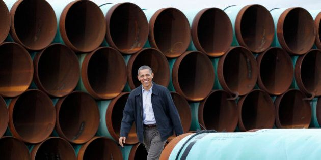 FILE - This March 22, 2012 file photo shows President Barack Obama arriving at the TransCanada Stillwater...