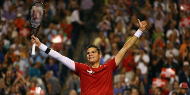 TORONTO, ON - AUGUST 06: Milos Raonic of Canada celebrates his win against Jack Sock of United States...