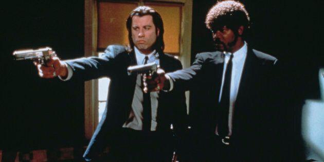 American actors John Travolta (left) as Vincent Vega and Samuel L Jackson as Jules Winnfield in a scene...