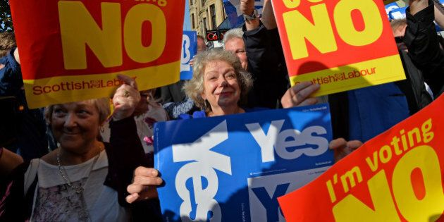 GLASGOW, SCOTLAND - SEPTEMBER 10: 'Yes' and 'No' voters protest as John Prescott and Alistair Darling...