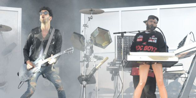 SAN FRANCISCO, CA - AUGUST 08:  Dave 1 aka David Macklovitch and P-Thugg aka Patrick Gemayel of Chromeo perform during the 7th Annual Outside Lands Music & Arts Festival at Golden Gate Park on August 8, 2014 in San Francisco, California.  (Photo by C Flanigan/WireImage)