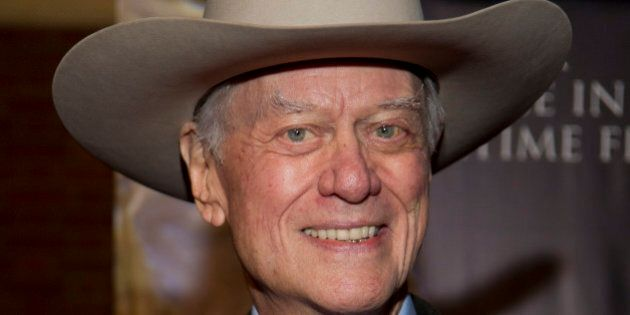 DALLAS, TX - NOVEMBER 15:  Larry Hagman arrives for the White Bridle Society's 'Da Vinci, Wine and Roses' benefit at Lisa Blue Baron Mansion on November 15, 2012 in Dallas, Texas.  (Photo by Cooper Neill/WireImage)