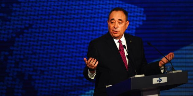 GLASGOW, SCOTLAND - AUGUST 05:  Alex Salmond (pictured) First Minister of Scotland and Alistair Darling chairman of Better Together take part in a live television debate from the Royal Conservatoire of Scotland on August 5, 2014 in Glasgow, Scotland. The two politicians are facing questions in front of 350 people during a live televised debate, they will try and influence voters before the referendum on 18th September when the nation will be asked to vote yes or no to decide whether Scotland should be an independent country.  (Photo by Jeff J Mitchell/Getty Images)