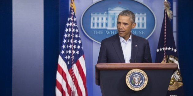 US President Barack Obama speaks about the US involvement in Iraq, as well as the situation in Ferguson,...