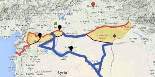 État islamique: la situation actuelle à la frontière turco-syrienne expliquée par une carte