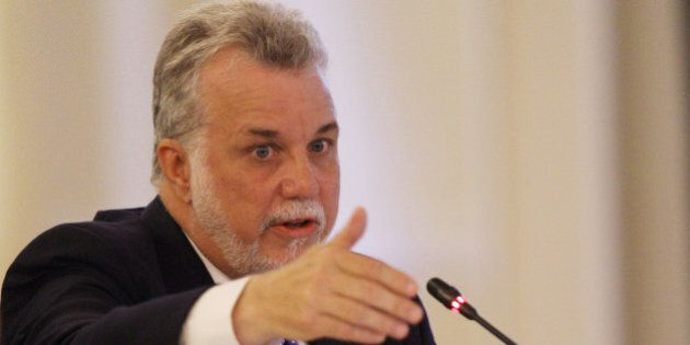 Premier Philippe Couillard of Quebec speaks at the New England Governors and eastern Canadian Premiers...