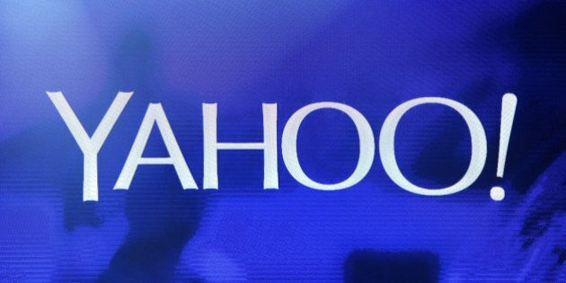 LAS VEGAS, NV - JANUARY 07: A Yahoo! logo is shown on a screen during a keynote address by Yahoo! President...