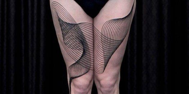 Des œuvres d'art géométriques en tatouages
