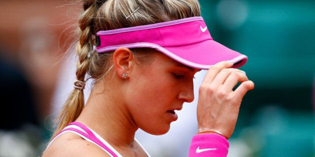 PARIS, FRANCE - MAY 26: Eugenie Bouchard of Canada reacts during her women's singles match against Kristina...