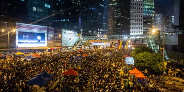 HONG KONG - OCTOBER 10: Thousands of pro-democracy protesters fill what has now been called ' Umbrella Square' at Admiralty for a rally on October 10, 2014 in Hong Kong, Hong Kong.  The rally comes after government officials called off talks with student leaders yesterday.  (Photo by Chris McGrath/Getty Images)