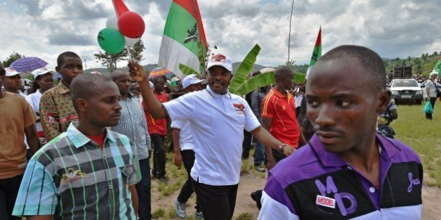 Burundi's President, Pierre Nkurunziza arrives at the rally of his party CNDD-FDD (National Council for...