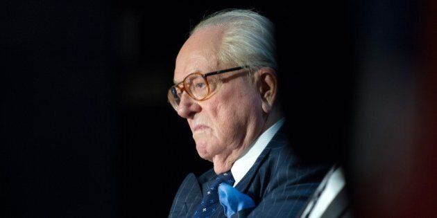 Founder and honorary president of the French far-right Front National party Jean-Marie Le Pen attends...