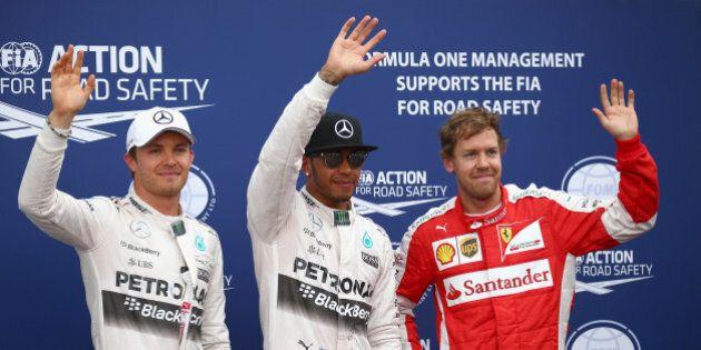 MONTE-CARLO, MONACO - MAY 23: Lewis Hamilton (C) of Great Britain and Mercedes GP celebrates finishing...