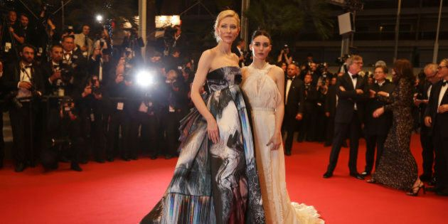 Cate Blanchett and Rooney Mara depart following the screening of the film Carol at the 68th international...
