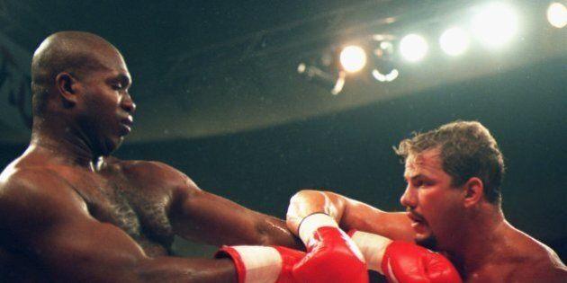 10 JUN 1995: DONOVAN RAZOR RUDDOCK OF THE USA (LEFT) GOES ON THE DEFENSIVE AGAINST TOMMY MORRISON OF...