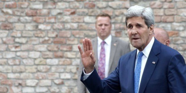 US Secretary of State John Kerry is leaving Coburg Palais after his bilateral meeting with Iran's Foreign...